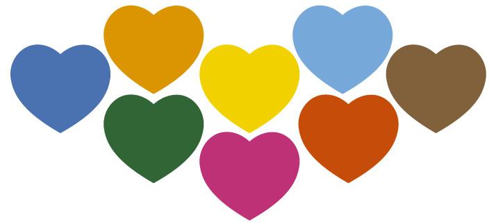 Arte para caneca: Corações coloridos - Amor