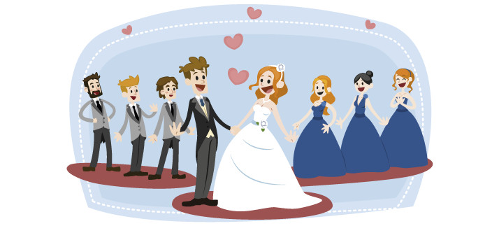 Arte para caneca: Noivos, padrinhos e madrinhas - Casamento
