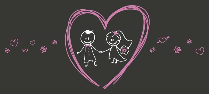 Arte para caneca: Casal e coração - Namorados