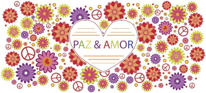 Arte para caneca: Paz e amor